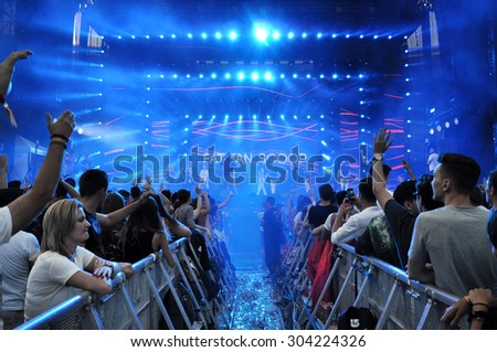 CLUJ NAPOCA, ROMANIA - AUGUST 2, 2015: Rapper Fatman Scoop performs a live concert at the Untold Festival  - stock photo