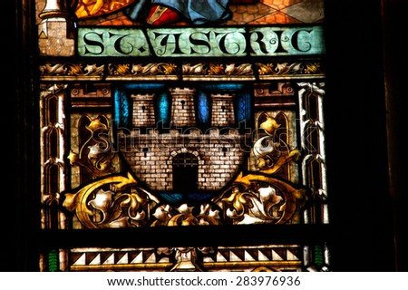 CLUJ NAPOCA, ROMANIA - DECEMBER 27: Biblical scene on a stained glass window inside the Gothic Roman Catholic Church of Saint Michael, built in 1390. On december 27, 2003 in Cluj, Romania