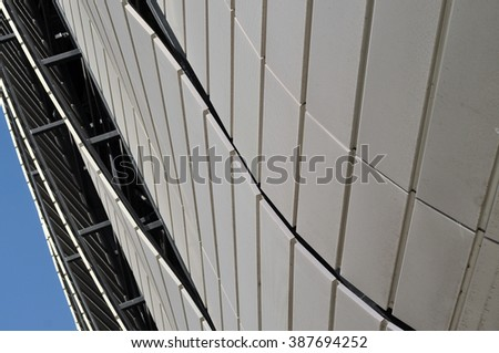 CLUJ-NAPOCA, ROMANIA - MARCH 2, 2016: Detail of the new Uefa Elite football stadium of Cluj Napoca. It was built in 2011 and is home for major sport events. - stock photo