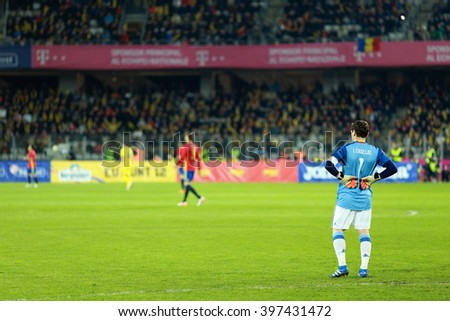 CLUJ-NAPOCA, ROMANIA - MARCH 27, 2016: Iker Casillas, the goalkeeper of the National Football Team of Spain playing against Romania in friendly match before Euro 2016 France - stock photo