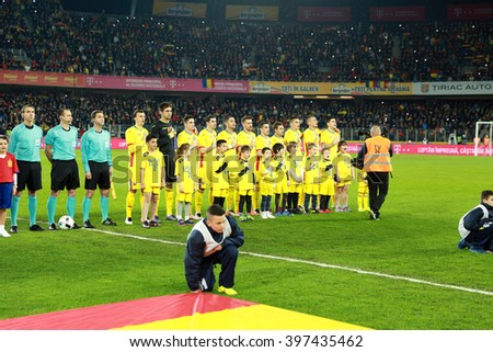 CLUJ-NAPOCA, ROMANIA - MARCH 27, 2016: The National Football Team of Romania pose for a group photo before a friendly match against Spain before Euro 2016 - stock photo