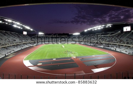 CLUJ NAPOCA,ROMANIA-OCT 1:Grand opening of Cluj Arena stadium on Oct 1, 2011 in Cluj N, Romania.The 31,000 seat stadium is the largest soccer stadium in Transylvania and ranked as UEFA Elite stadium. - stock photo