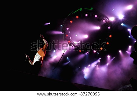 CLUJ NAPOCA, ROMANIA – OCTOBER 8: Voltaj pop-rock band on the stage performs live at Cluj Arena Grand Opening concert on October 8, 2011 in Cluj-Napoca, Romania - stock photo