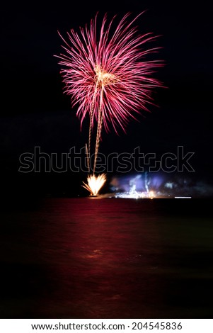 Cluster of colorful fireworks