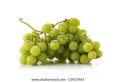 Cluster of green grapes isolated over a white background