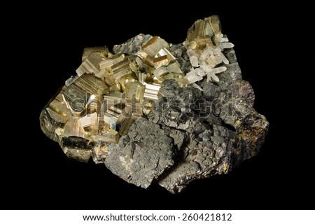 Cluster of pyrite crystals from Huanzala, Peru - stock photo