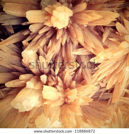 Cluster of twinned aragonite on a white background - stock photo