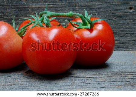Cluster of vine tomatoes on old barn wood planks - stock photo