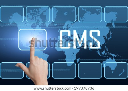 CMS - Content Management System concept with interface and world map on blue background