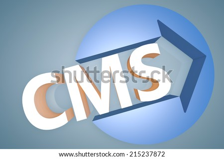 CMS - Content Management System - 3d text render illustration concept with a arrow in a circle on blue-grey background - stock photo