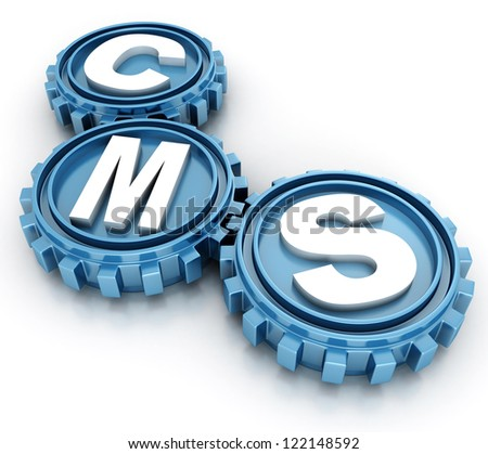 CMS gears. content management system concept - stock photo