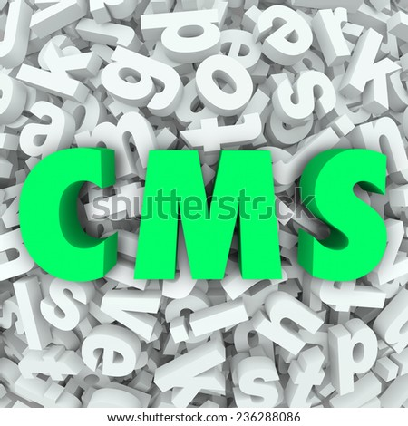 CMS letters in acronym for Content Management System organizing articles, data and information on a website or internet online resource - stock photo