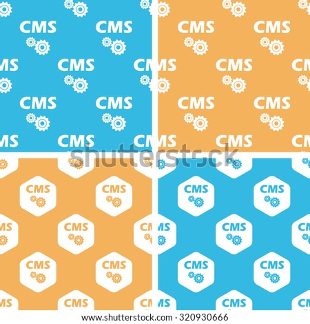 CMS settings pattern set, simple and hexagon, on yellow or blue background - stock photo
