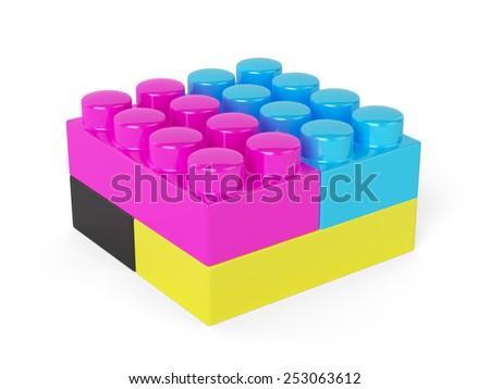 CMYK block concept isolated on white background - stock photo