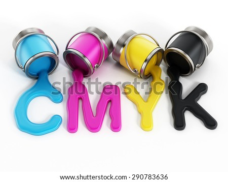 CMYK buckets with cyan, magenta, yellow and black inks - stock photo