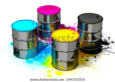 CMYK cans in spots - stock photo