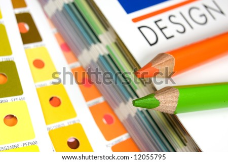 Cmyk color bars with pencils - stock photo