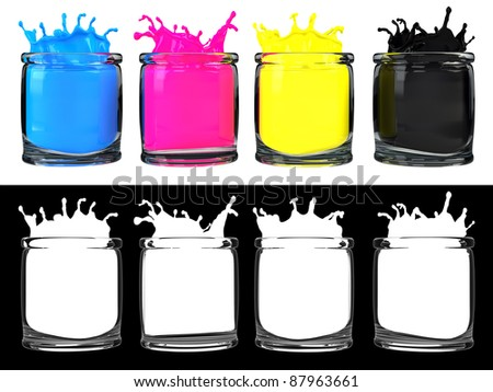 CMYK color paint in glass vessel
