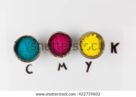 CMYK color scheme concept depicted with colorful dyed powder on whiteboard with copy space - stock photo