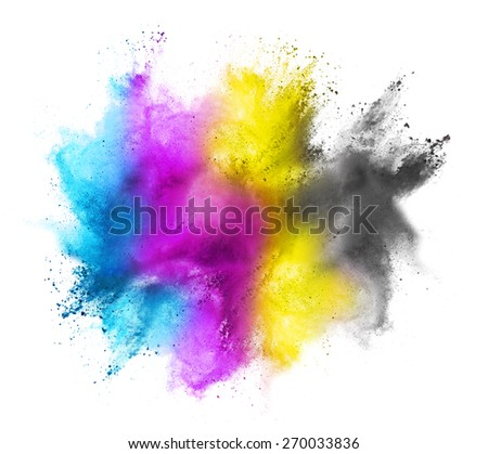 CMYK colored dust cloud on white background