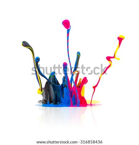 CMYK colors paint splashing  - stock photo