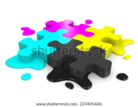 CMYK Colors Puzzle Pieces Combined with Ink Stains on White Background Illustration - stock photo
