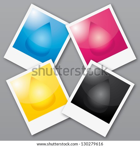 CMYK colors wheel. Printed pictures illustration. - stock photo