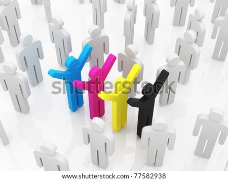 CMYK colour, concept with people - stock photo