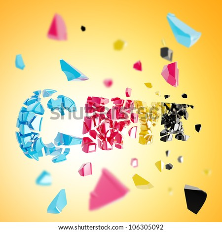 CMYK explosion as smashed and broken into pieces word, depth dimensional background - stock photo