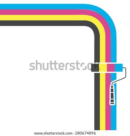 CMYK  flat  background. Paint roller. - stock photo
