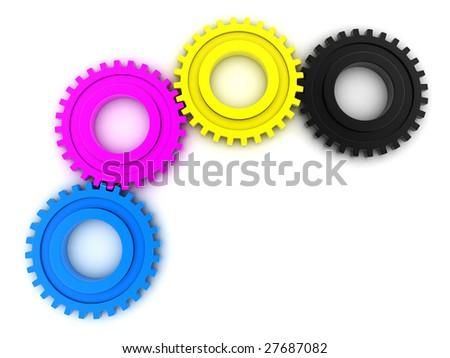 CMYK Gears on white background - stock photo