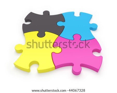 CMYK jigsaw puzzle pieces - variations in portfolio - stock photo