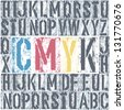 CMYK letterpress poster. Raster version, vector file available in portfolio. - stock photo