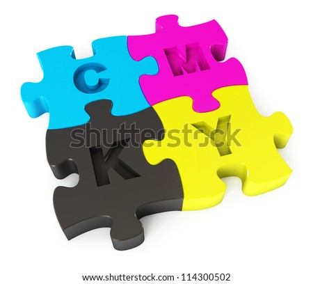 Cmyk puzzle. Isolated on white background. 3d render - stock photo