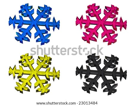 CMYK snowflake (image can be used for printing or web) - stock photo