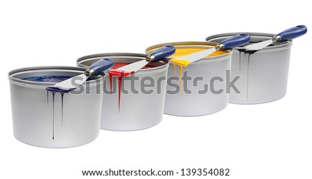 CMYK trowels, with printing press color, cyan, magenta, yellow - stock photo
