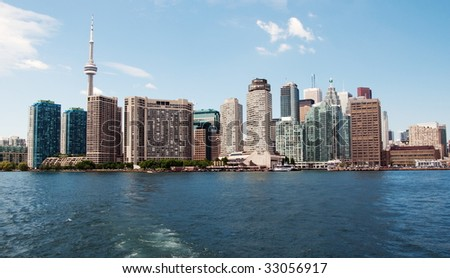 CN Tower and Downtown Toronto. View from Lake Ontario. Canada