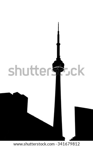 CN tower in Toronto in black and white - stock photo
