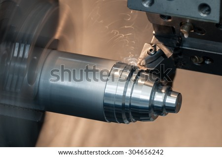 CNC Lathe machine in workshop - stock photo
