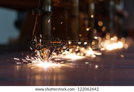 CNC LPG cutting with sparks - stock photo