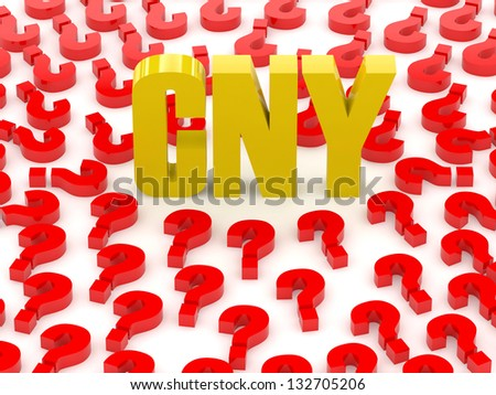 CNY sign surrounded by question marks. Concept 3D illustration. - stock photo