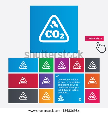 CO2 carbon dioxide formula sign icon. Chemistry symbol. Metro style buttons. Modern interface website buttons with hand cursor pointer. - stock photo