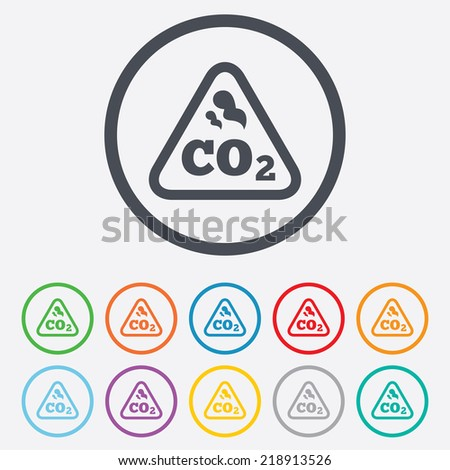 CO2 carbon dioxide formula sign icon. Chemistry symbol. Round circle buttons with frame. - stock photo