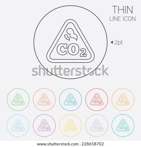CO2 carbon dioxide formula sign icon. Chemistry symbol. Thin line circle web icons with outline. - stock photo