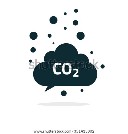 co2 emissions icon cloud flat, carbon dioxide emits symbol, smog pollution concept, smoke pollutant damage, contamination bubbles, garbage label, combustion products isolated modern design sign image - stock photo