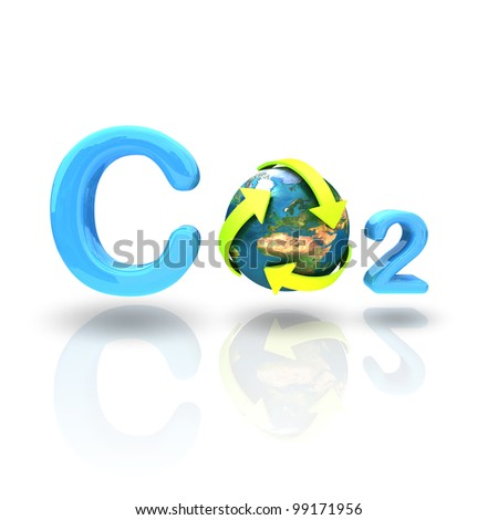 CO2 formula with green arrow recycle globe isolated on white background - stock photo