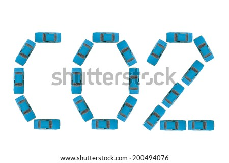 CO2 gas emissions from vehicles. Written with blue cars - stock photo