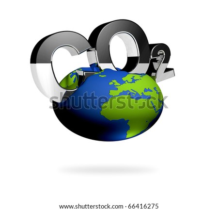 CO2 pollution in 3D's  style. Letters with an iron surface.