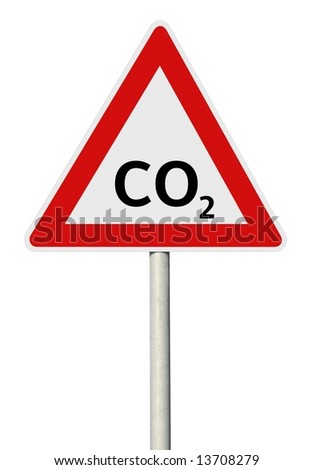 CO2 warning sign with post - stock photo