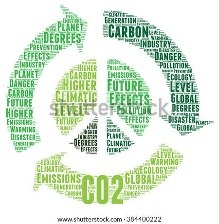 CO2 word cloud concept - stock photo